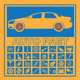 Car part icons on blue square Stock Photos