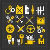 Car part icons set on a dark background. Vector Royalty Free Stock Photography