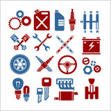 Car part icons set on a light background. Vector Stock Photography
