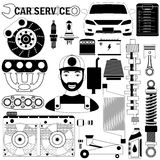 Car part and mechanic icons Stock Photos