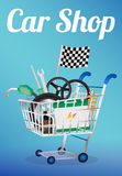 Car part on a shopping cart Stock Photo