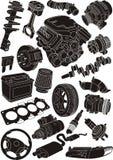 Car parts. Set of car part silhouettes Stock Photos