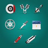 Car parts. Brake, pistons, car light bulb, alloy wheels, spark plug, battery, absorber, car muffler Stock Images