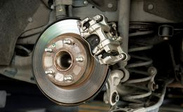 Closeup car disk brake maintenance service in car garage and copy spcae. Car parts and disk brake concept - Closeup car disk brake maintenance service in car royalty free stock photography
