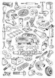 Car parts in freehand drawing style Stock Photography