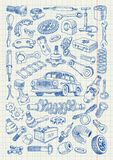 Car parts in freehand drawing style Stock Image
