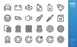 Free Car Parts Icon Set. Tires, Wheels, Oil Filters Icons Royalty Free Stock Photos - 197056818