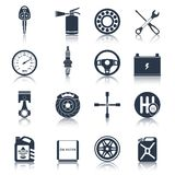 Car parts icons black Stock Photography