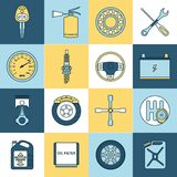 Car parts icons flat line Royalty Free Stock Photo