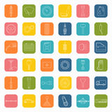 Car parts icons in flat style Stock Photography