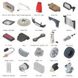 Car parts icons set, isometric style Stock Photography