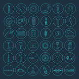 Car parts icons. Set of 36 simple car parts icons. Vector EPS8 illustration Royalty Free Stock Photos