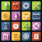 Car Parts Icons White Stock Photography