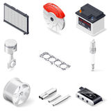 Car parts isometric icon set Stock Photo