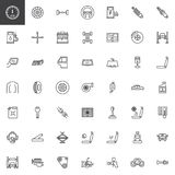 Car parts line icons set stock illustration