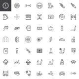 Car parts line icons set stock illustration