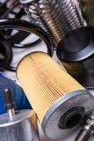 Car parts. Car motor parts, gear close-up, air filter royalty free stock photos