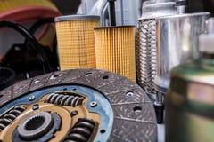 Car parts. Car motor parts, gear close-up, sparks, air filters Stock Images