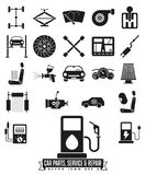 Car parts, service and repair glyph icon set Royalty Free Stock Photo