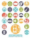 Car parts, service and repair round icon set Royalty Free Stock Image