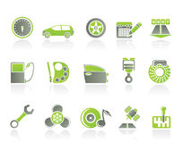 Car parts, services and characteristics icons. Icon set Stock Photos