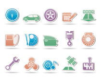 Car parts, services and characteristics icons Royalty Free Stock Image