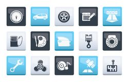 Car parts, services and characteristics icons over color background. Vector icon set stock illustration