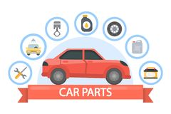 Car parts set. Red automobile with spare parts vector illustration