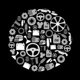 Car parts store simple gray-scale icons in circle Royalty Free Stock Images
