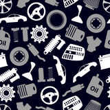 Car parts store simple icons seamless dark pattern eps10 Stock Photos