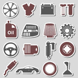 Car parts store simple stickers set eps10 Royalty Free Stock Images