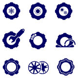 Car parts such as tires and wheels icons set Royalty Free Stock Images
