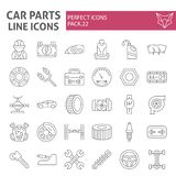 Car parts thin line icon set, automobile symbols collection, vector sketches, logo illustrations, auto repair signs vector illustration