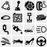 Car parts vector icon set on gray Royalty Free Stock Image
