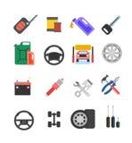 Car parts vector set. Car service vector icon set. Car parts sho Royalty Free Stock Photos
