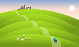 Car passes a morning landscape. Blue car in the morning landscape with a village on a hill, vector illustration Royalty Free Stock Images