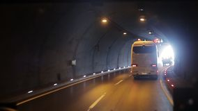 The car passes through the tunnel stock video footage