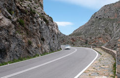 Car passing a Gorge in Crete, Greece Royalty Free Stock Image