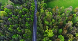 Car passing highway aerial view. Car passing highway aerial. Wide shoot of car moving route between forest. Holiday background stock video footage
