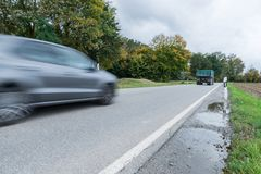 Car passing by on a national highway, Germany.  royalty free stock photo