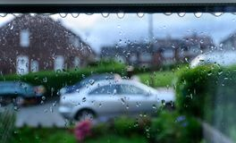 Rainy day Through Window UK Royalty Free Stock Photography