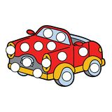 Car patches game. Vector digital educational game with cartoon character for toddlers:  patches or dot marker pages Stock Photo