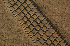 The  car  path in sand Royalty Free Stock Image