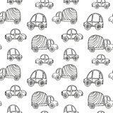 Car pattern. Seamless kids background with sketch cars. Vector illustration Stock Image