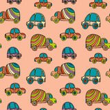 Car pattern. Seamless kids background with sketch cars. Vector illustration Stock Photos