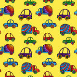 Car pattern. Seamless kids background with sketch cars. Vector illustration Stock Photography