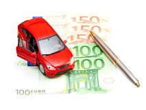 Car, pen and money Royalty Free Stock Photography