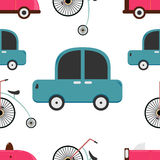 Car and penny farthing seamless pattern. Royalty Free Stock Image