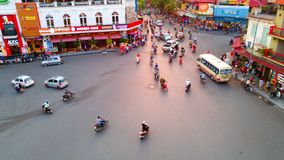 Car and people traffic in the city center of Hanoi, Vietnam stock footage