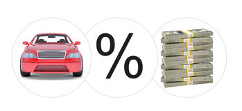 Car with percent and bundle of money Royalty Free Stock Photos